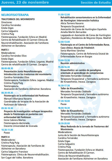 programa de la sección de neurofisioterapia de la Sociedad Española de Neurologia